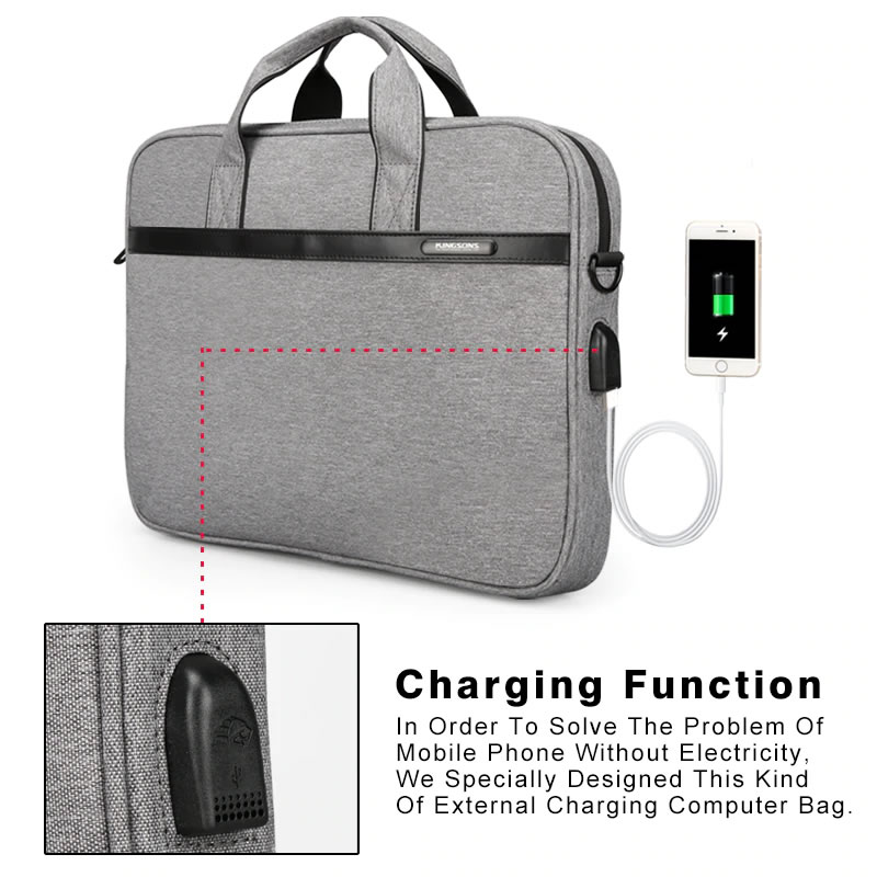 Charge your Mobile Phone on the Go with Kingsons Waterproof Laptop Handbag